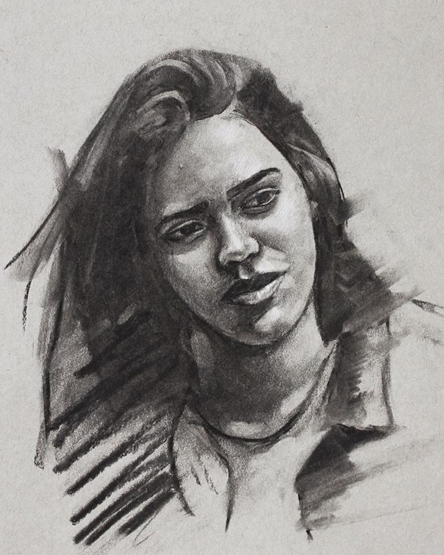 More fun with charcoal.  __________  #art #artist #sketch #sketchbook #drawing #charcoal #charcoaldrawing #portraitdrawing #figurativeart #tonedpaper #sketching