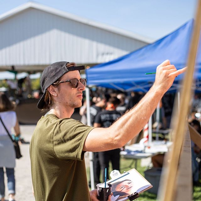 Every year I look forward to painting at Oktoberfest. Good people, music, skateboarding, and plenty of beer!  Thanks to @birlingtheott and @beausallnatural for having me out again. 📷 @aaroncayer  _______________  #painting #mural #muralart #muralism #streetart #urbanart #liveart #muralsdaily #streetarteverywhere