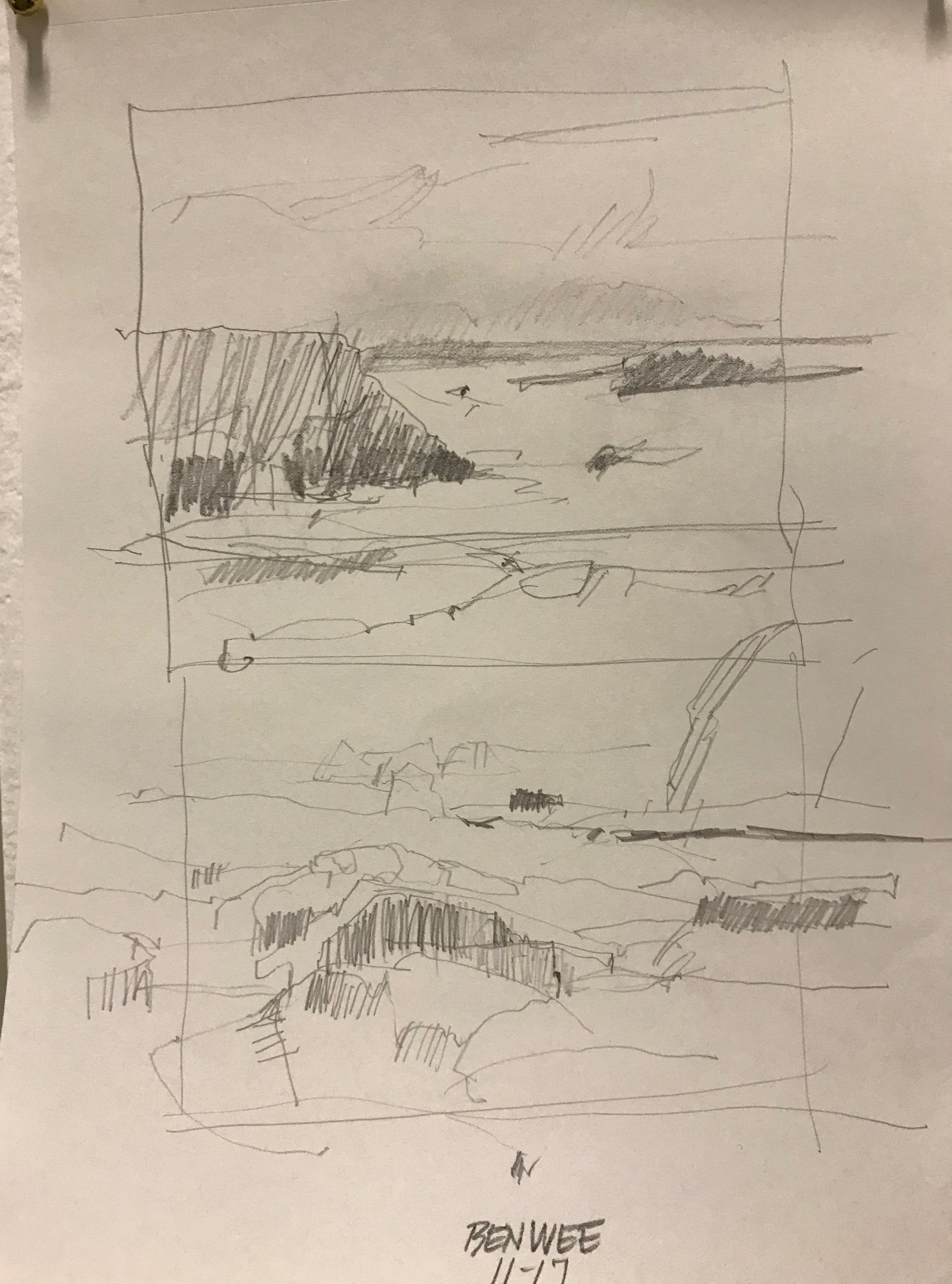 top sketch - view to my left