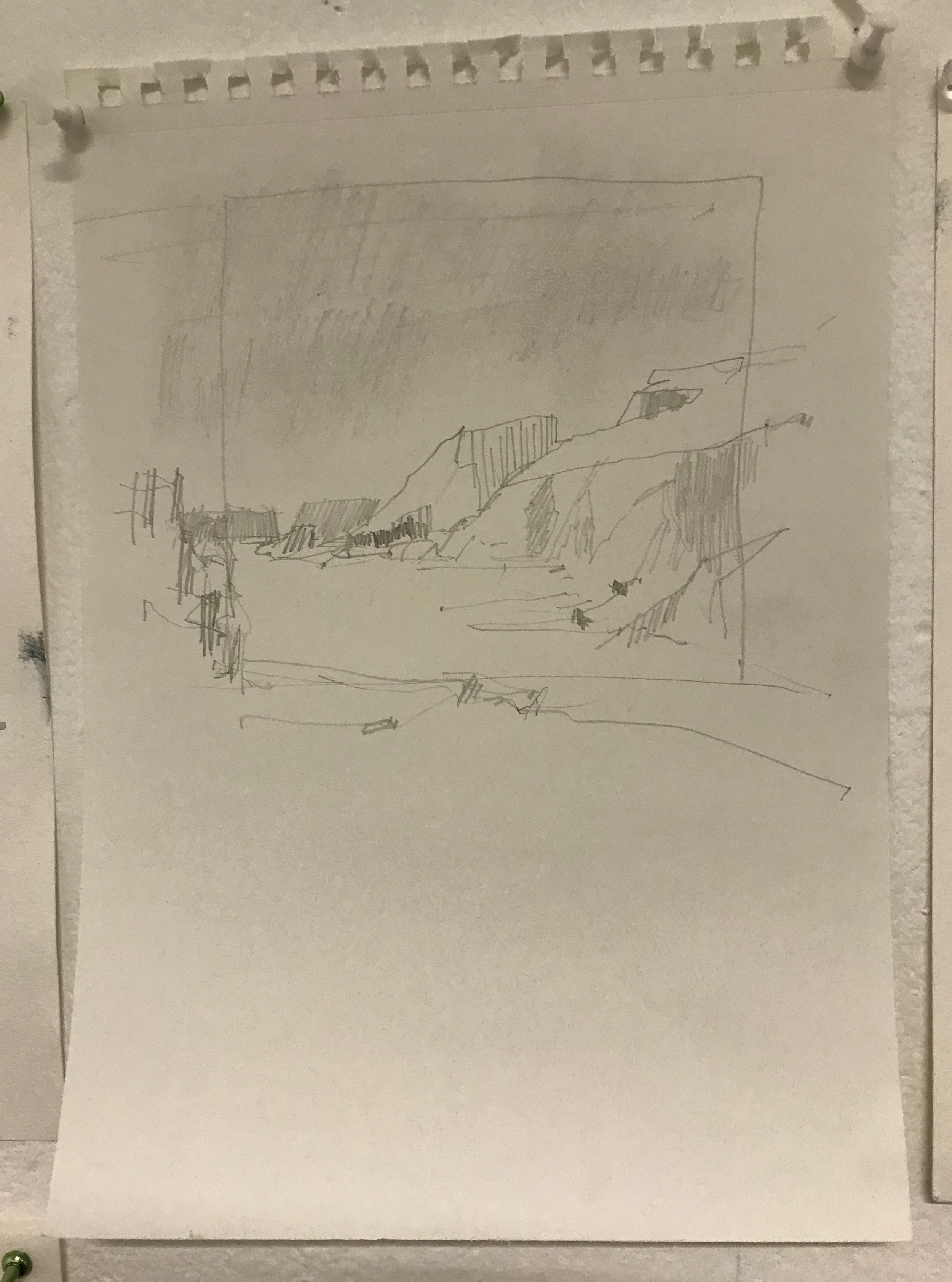 sketch for oil on right side
