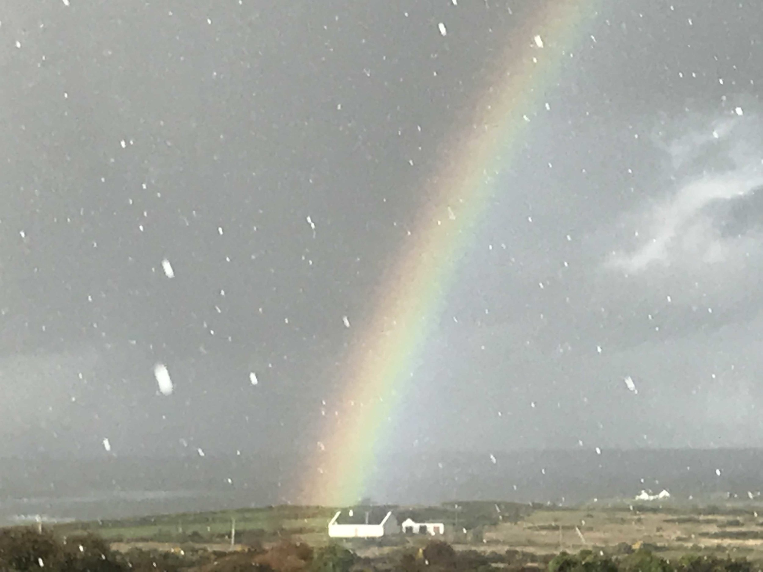Rainbow and a hail storm!