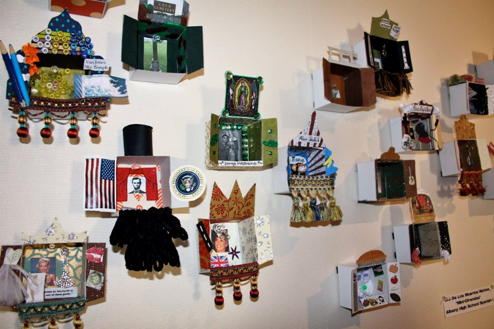 Nichos (remembrance boxes) created by local Spanish students) at Dia de los Muertos Festival
