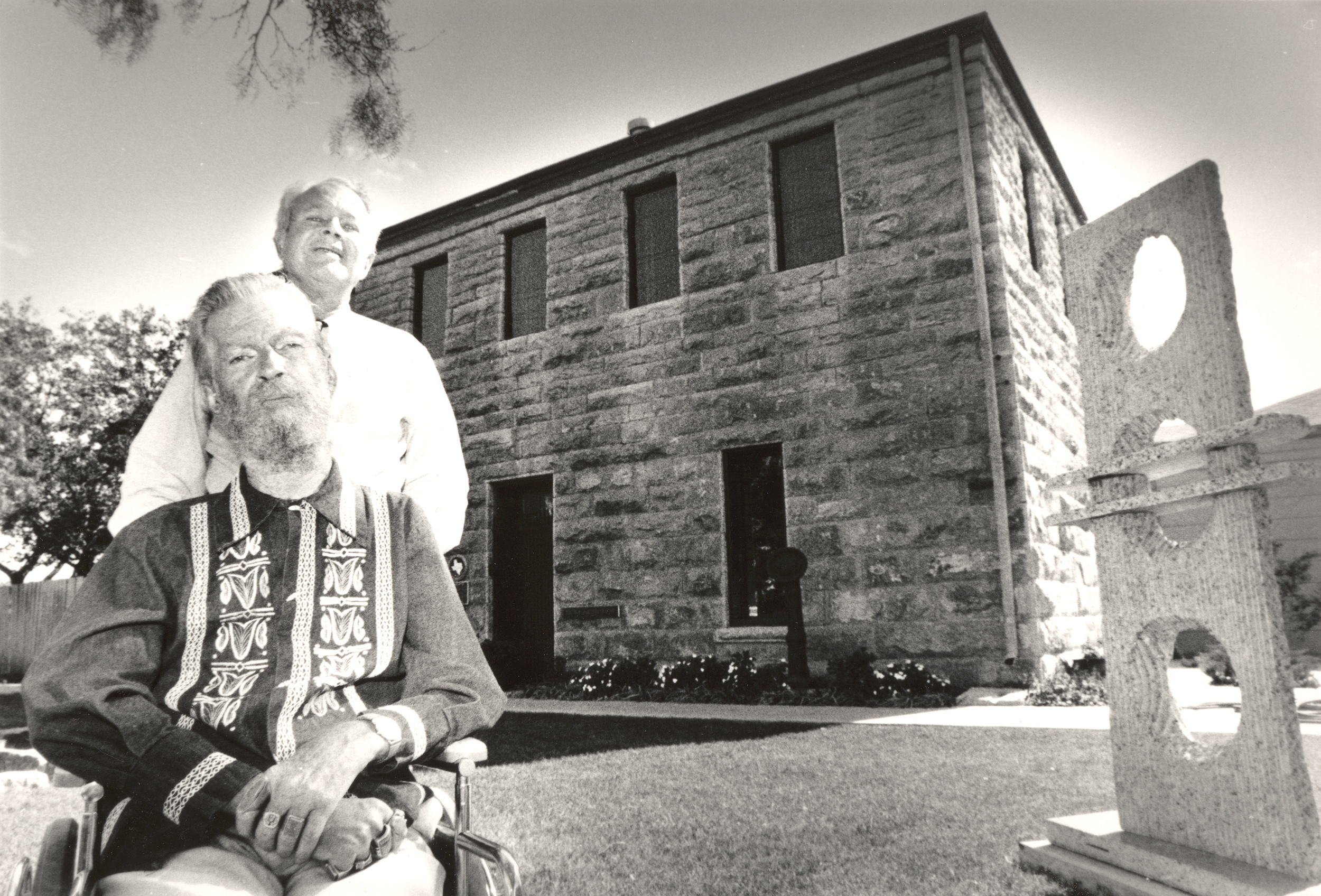 Bill Bomar (front) and cousin Reilly Nail, in front of the museum, ca. 1983.