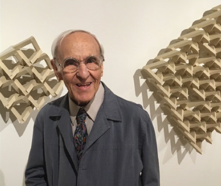 George Grammar, the last living artist of the Fort Worth Circle, at the OJAC during the opening of  Texas Moderns : Bill Bomar on September 16, 2017.