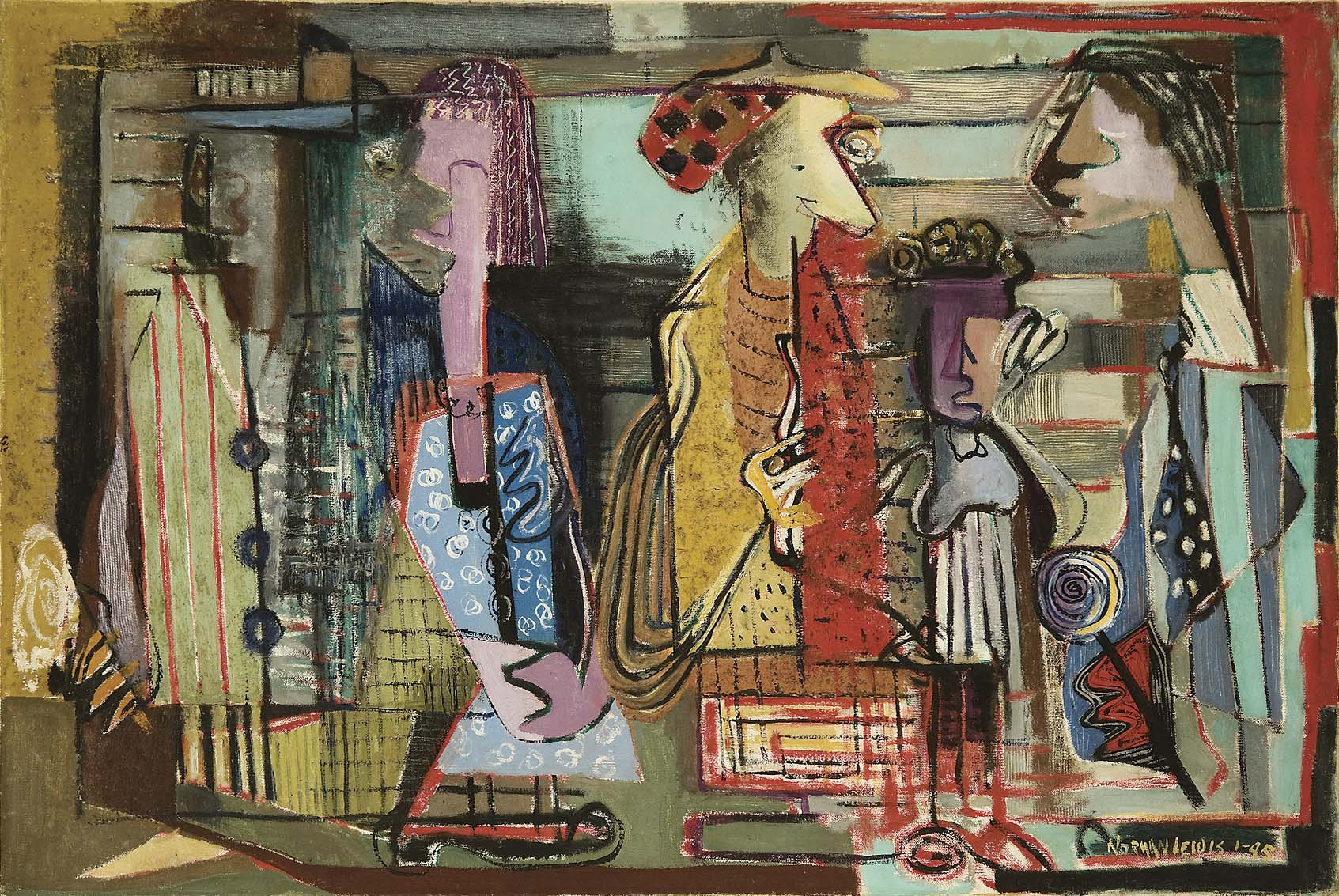 NORMAN WILFRED LEWIS,   Untitled (Subway Station),   1945, oil and sand on canvas. On loan from Art Bridges.  LX.085