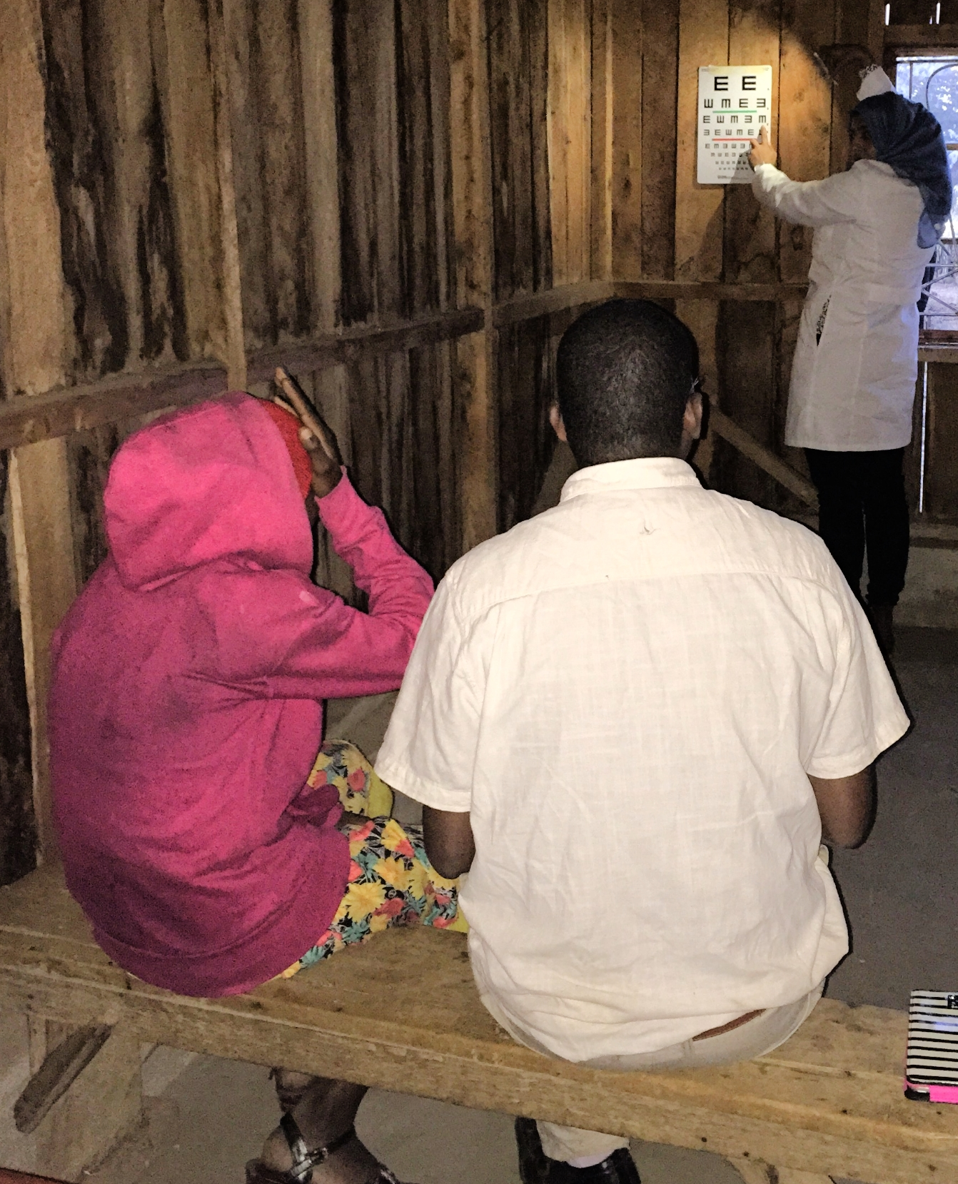 Dr. Sidiqa and Ezekiel worked until dark to examine patients. Rather difficult to do vision screening when only using a flashlight, but it would be worse to turn them away after waiting hours (all day for some) to be seen by the doctor.