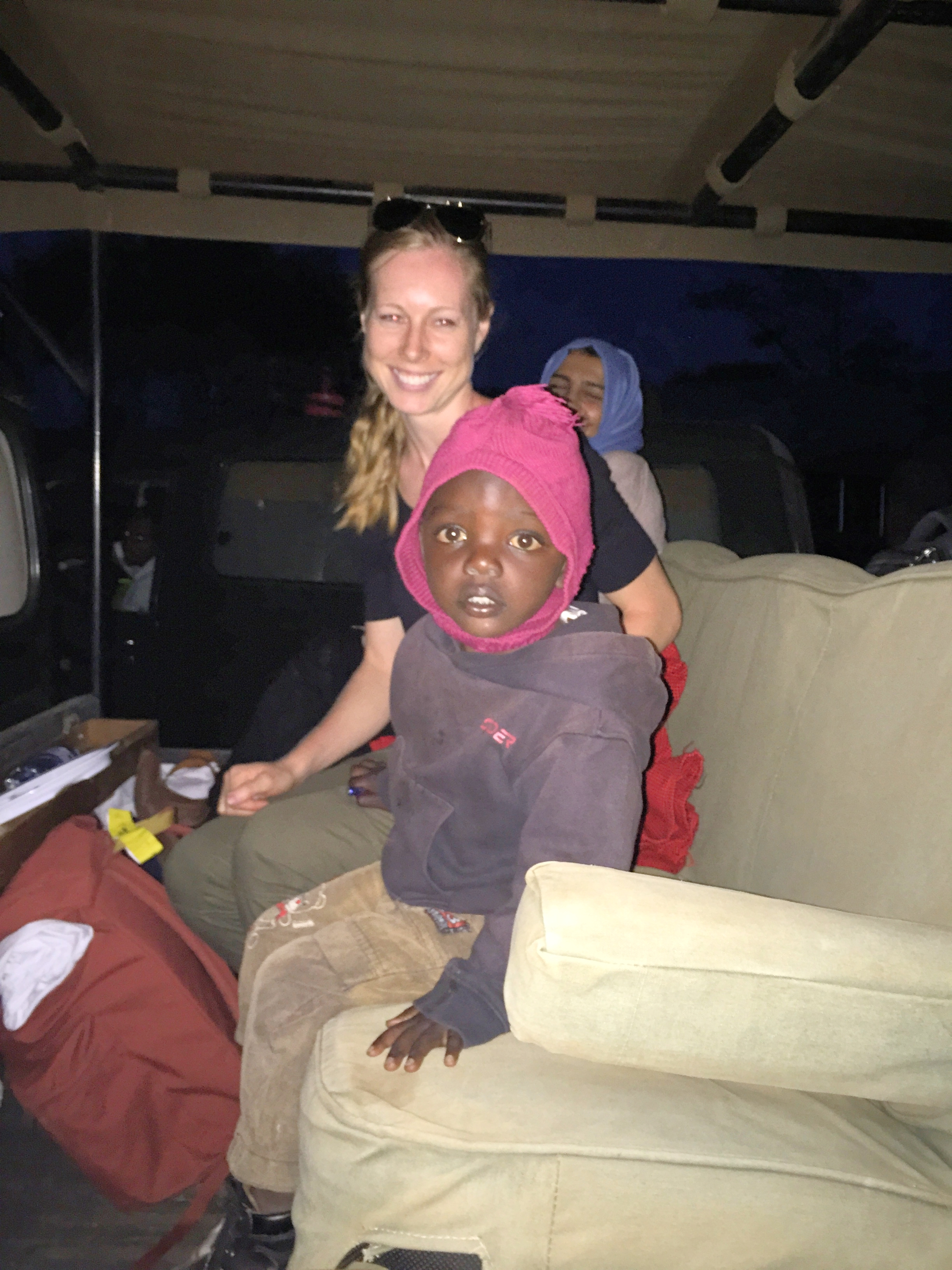 A sweet moment when this little boy, who had befriended Alex, jumped in the jeep with us when we were leaving. His mom eventually got him out of the jeep with the help of a lollipop we gave him.