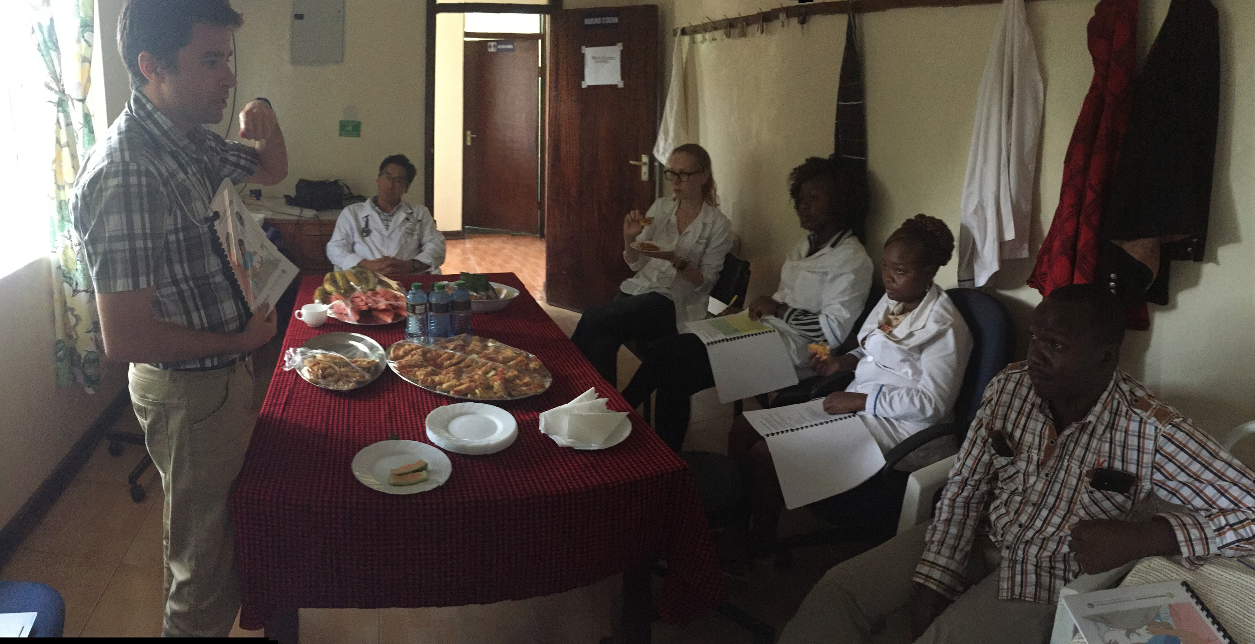 Dr. Michael teaching a course on Helping Babies Breathe to the Fluorspar staff.