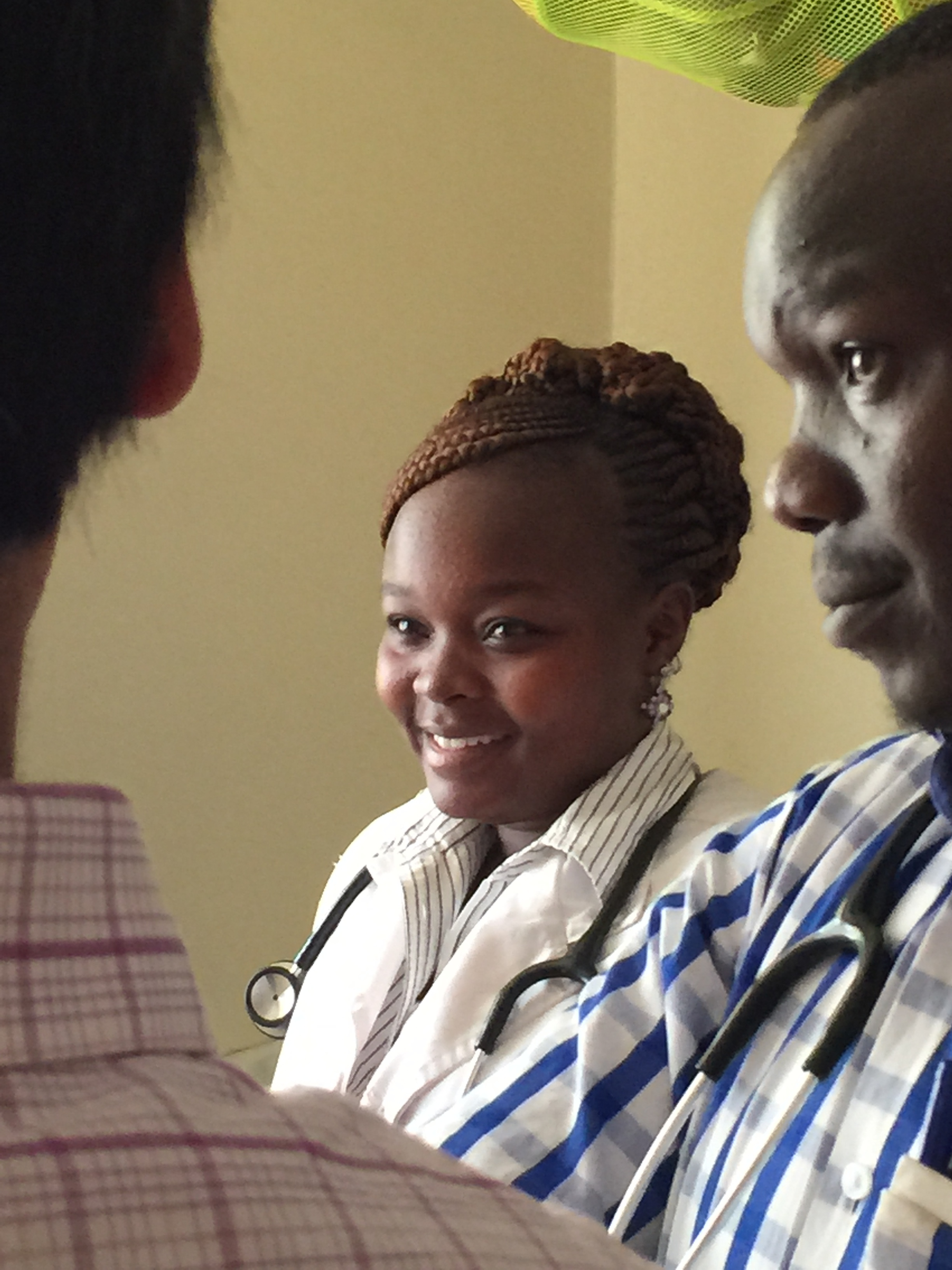 Rahema, a clinical officer at the clinic, during our first day of rounds.