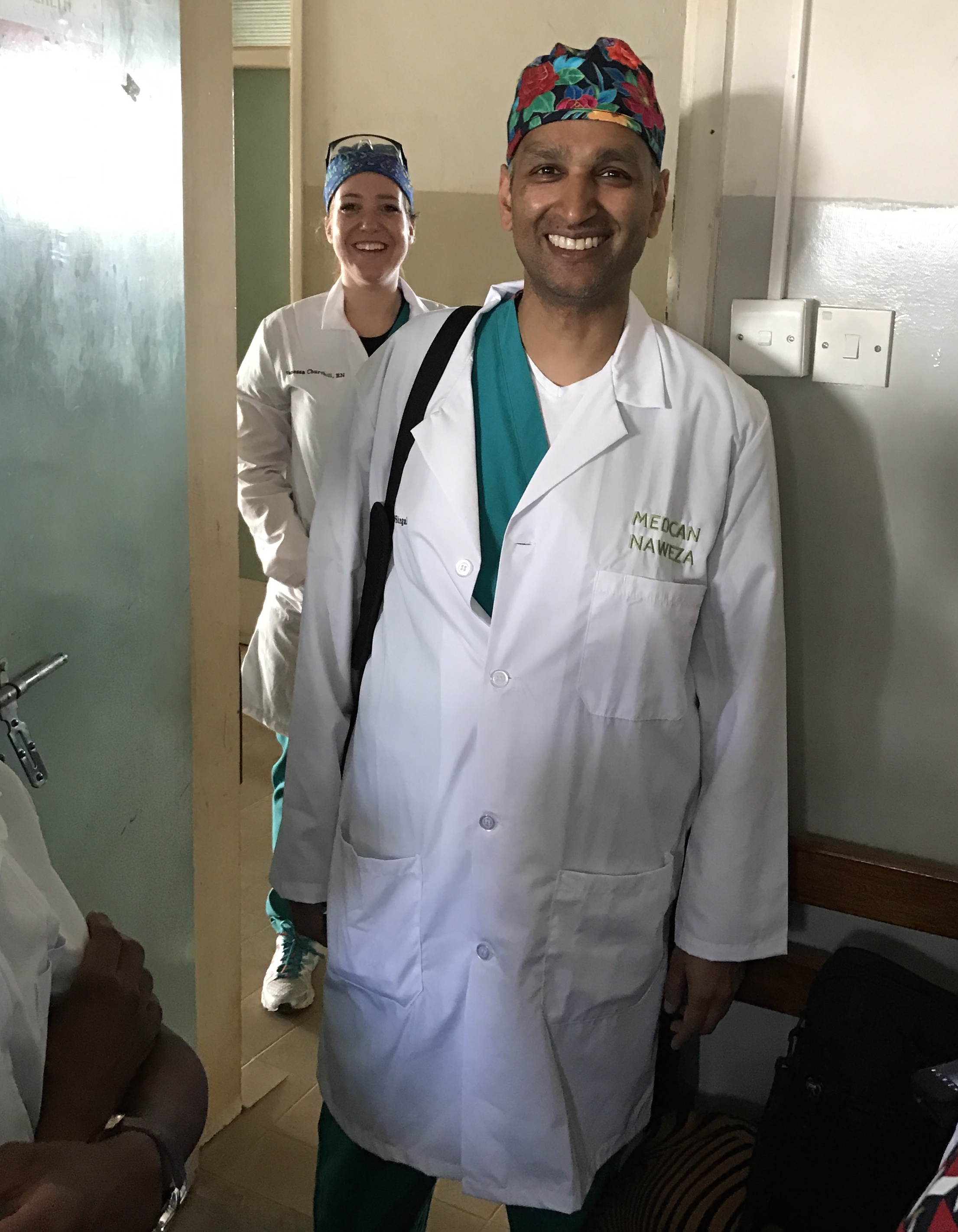 Dr. Rajiv and Vanessa after surgery.