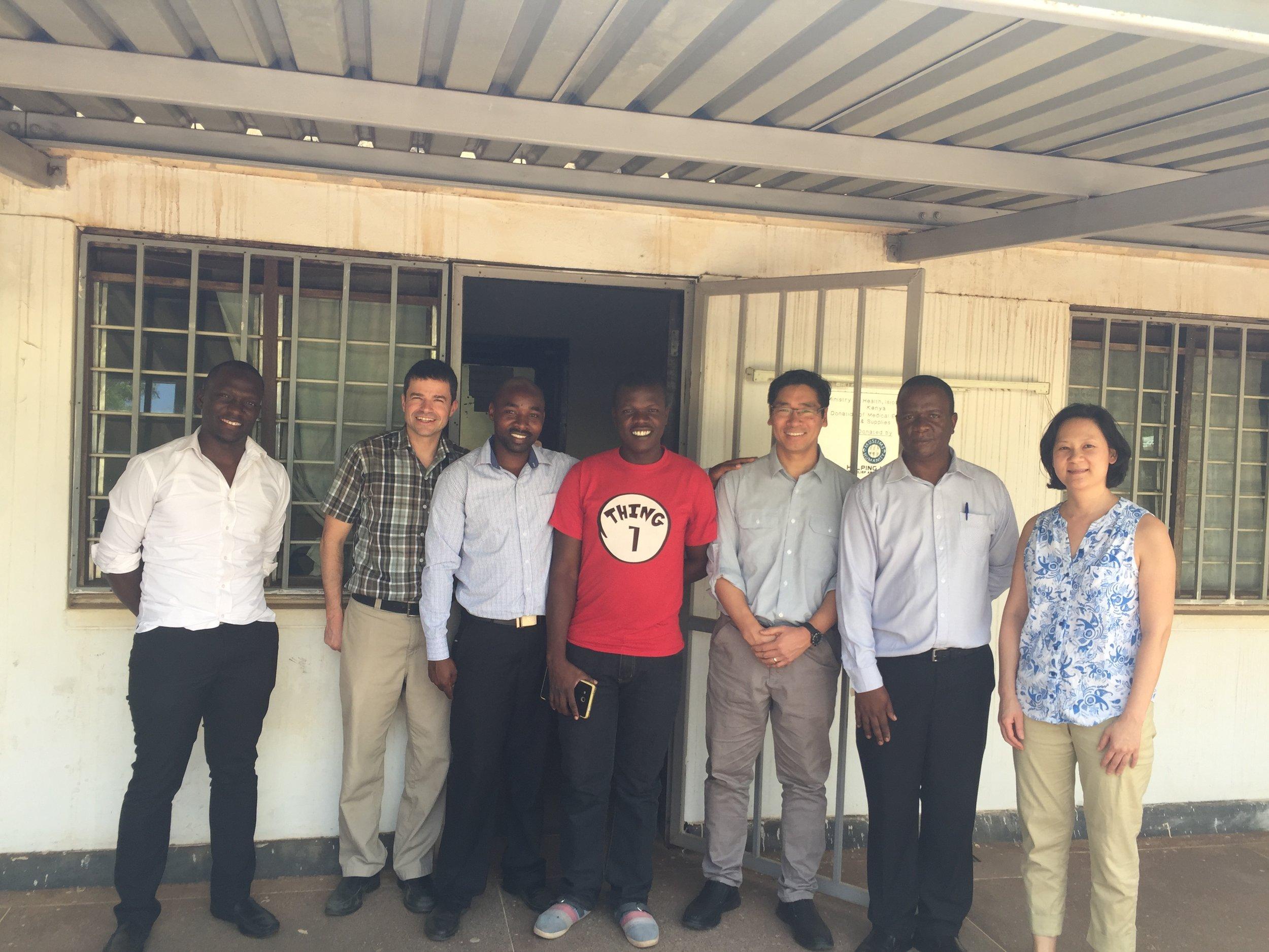 Hagai (nurse at Manyangalu), Dr. Hawkes, Eric (lab tech at Manyangalu), Benard, Dr. Aw, Dr. Kiluova, Dr. Wong at Isiolo Hospital