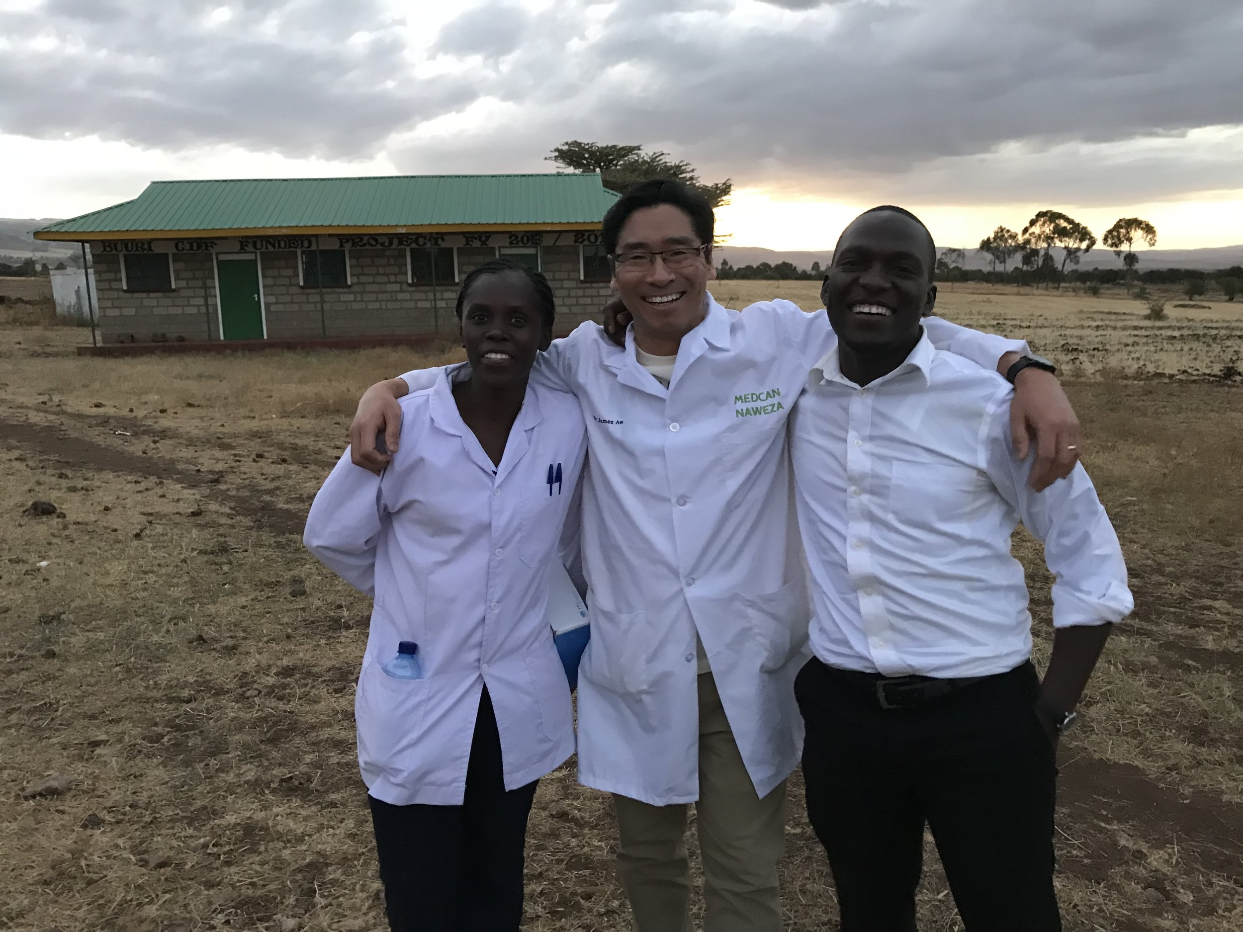 Here I am with Nurse Lydia and Nurse Hagai at the end of the outreach. The day started with lots of people eager to be seen at our outreach in the Meru district.
