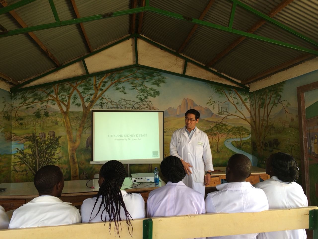 Dr. James leading a talk on UTIs and kidney disease