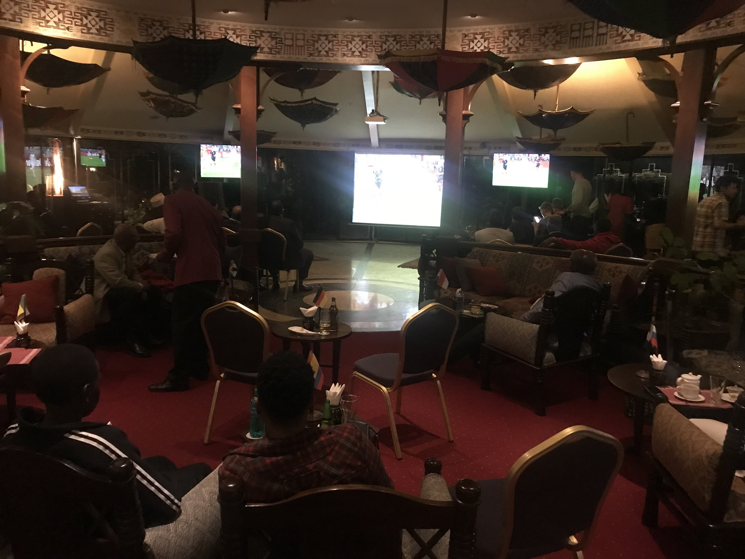 Watching the World Cup in the hotel bar