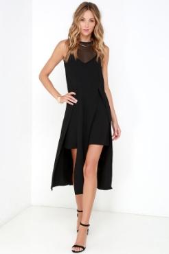 Black Mesh Midi Dress - $121