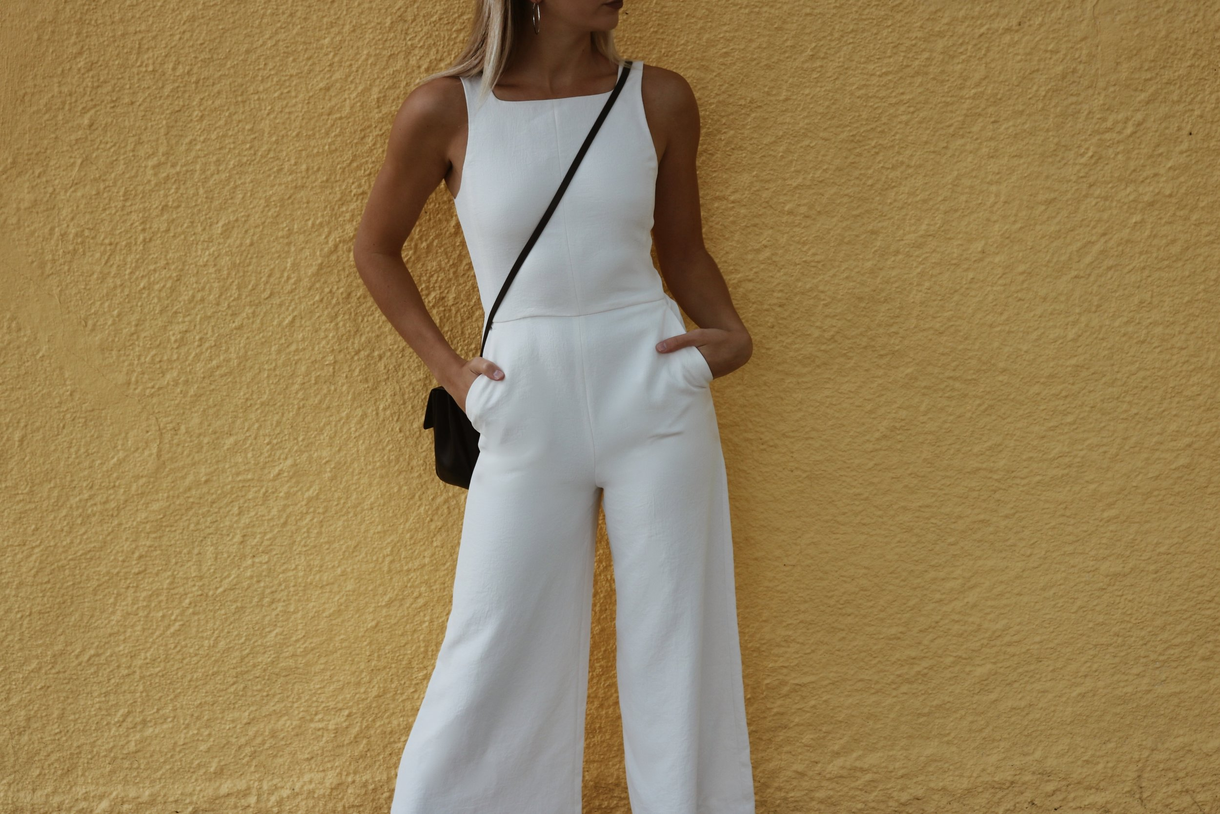 brittany lauren brittanylaurens saskatoon blogger ootd jumpsuit aritzia celine sunglasses auxillary outfit fashion blog style yellow wall paint ecoulement