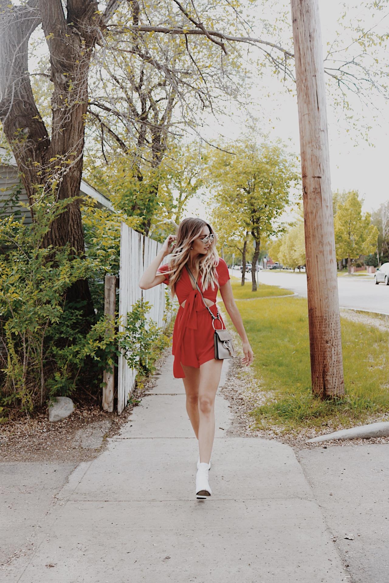 princess polly jumper romper playsuit red tie ootd summer chloe faye brittanylaurens brittany lauren canada fashion blogger inspo