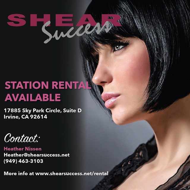 Station rental available in #Irvine!  Contact: Heather Nissen Email: Heather ( at ) shearsuccess.net  Call: (949) 463-3103