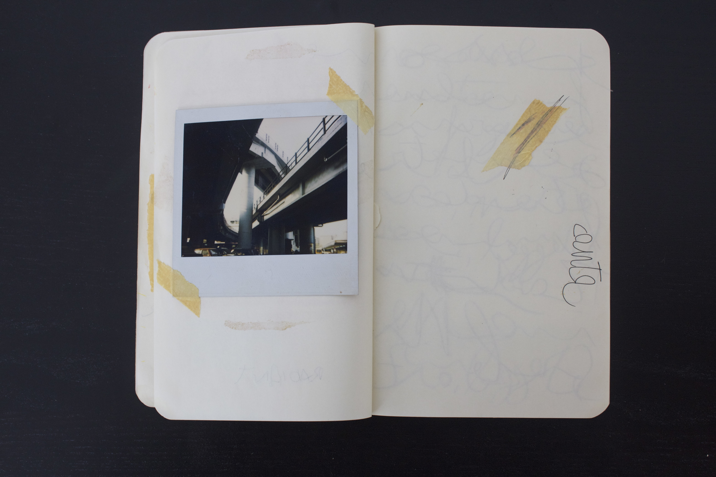 Book note (Polaroid reportage on Stazione Tiburtina, Rome, 1994)