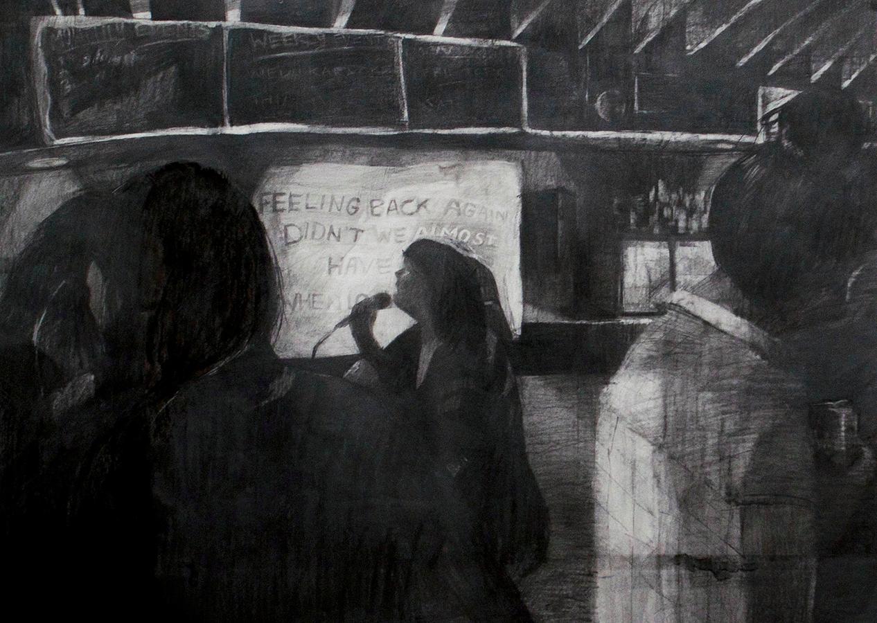"""Living on Feelings   2016  graphite on paper  26"""" x 36"""""""