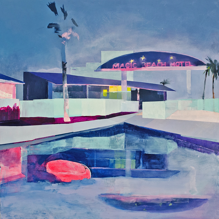 "The Magic Beach Motel  2015  oil on panel  24"" x 24"""