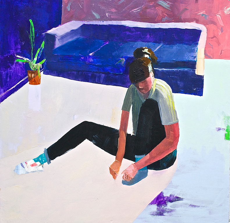 """Shoe  2015  oil, acrylic, flashe, tape, and painted paper on panel  24"""" x 24"""""""