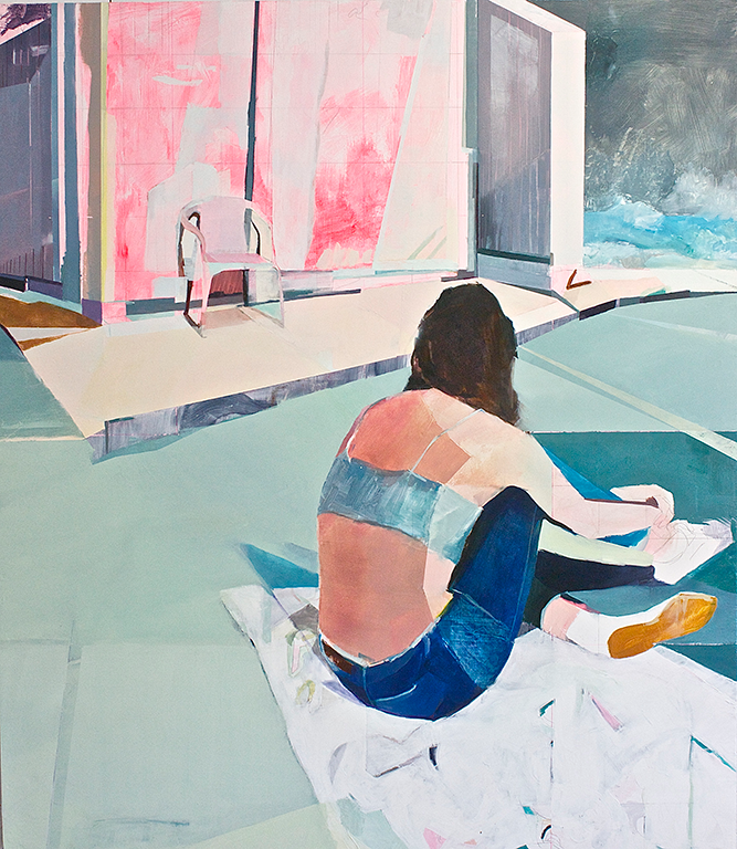 "Motel Afternoon  2015  oil on panel  48"" x 42"""