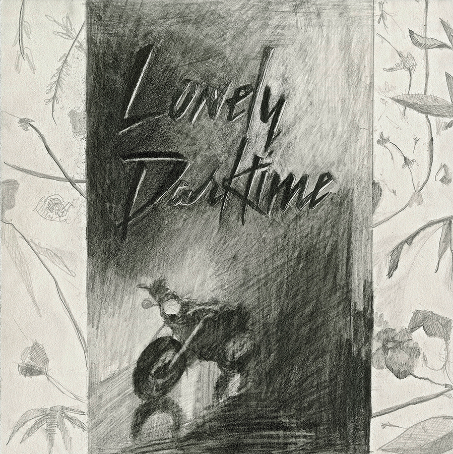 """Lonely Darktime  2015  pencil on mat board  10"""" x 10"""""""