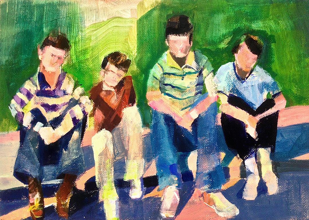 """Boys  2015  acrylic on canvas  8"""" x 10"""""""