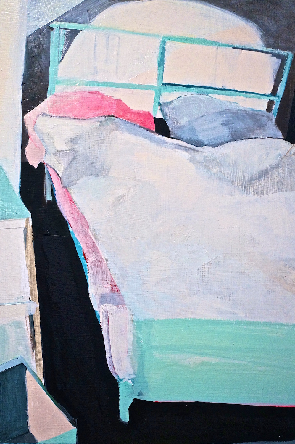 "College Bed  2013  oil on panel  15"" x 11"""
