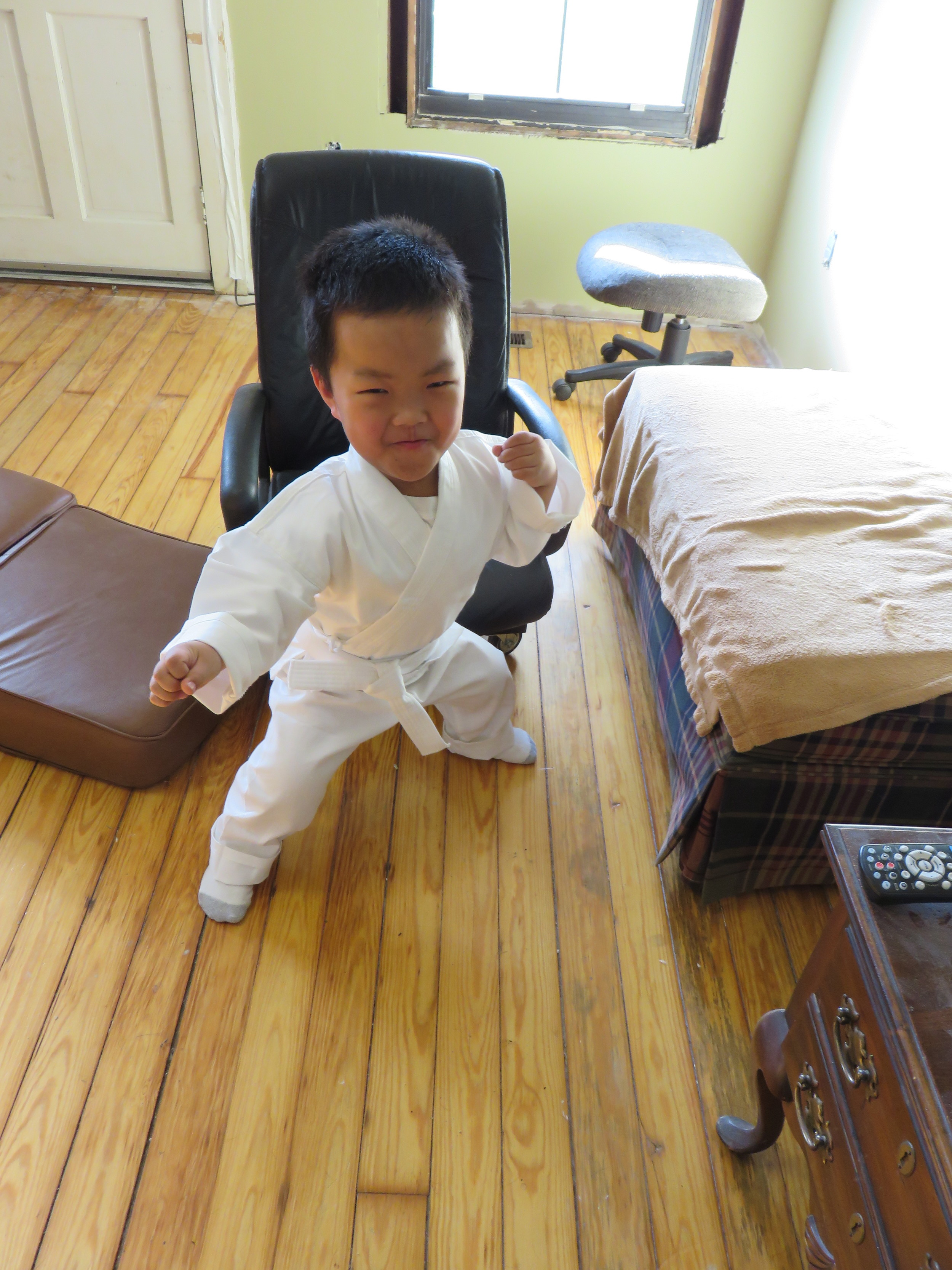 Alex practicing his karate