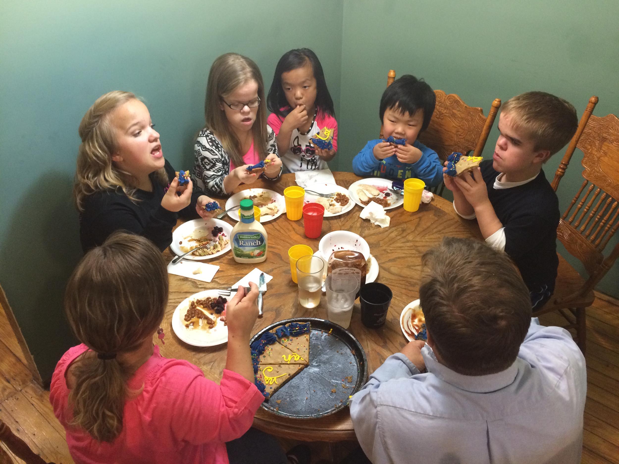 Family dinner and celebrating Jonah making the soccer team