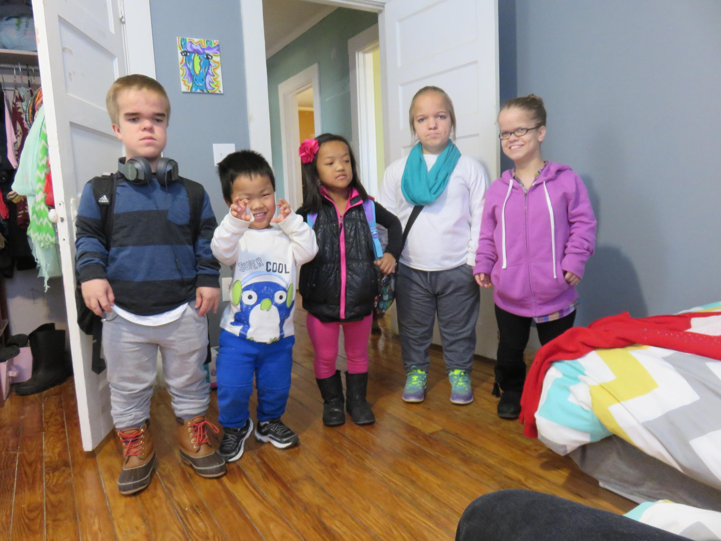 The kidsbefore their ski trip