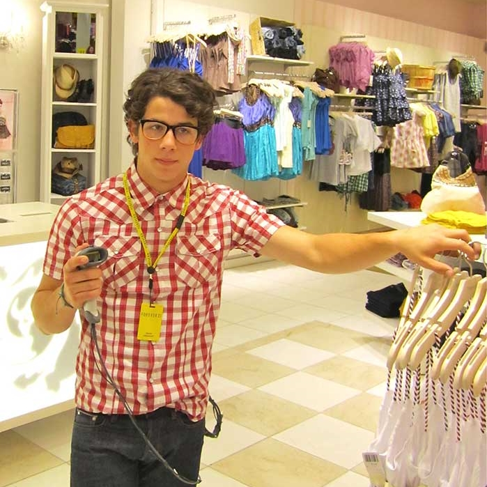 Nick Jonas clothing store clerk
