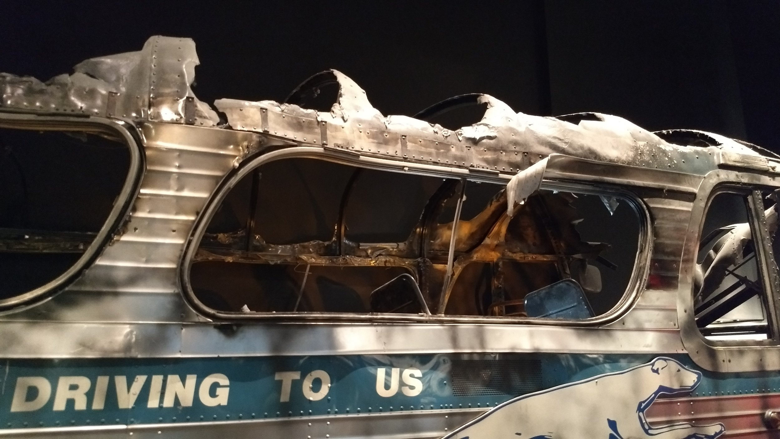 Bus burned when freedom riders were attacked in Anniston, AL