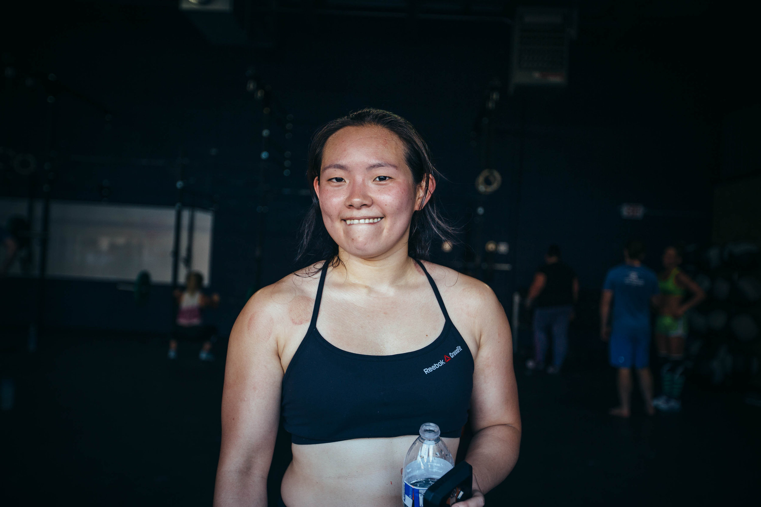 """What does Sam tell herself when she's pushing through a workout? """"One rep at a time. You...put work in and get better each time."""""""