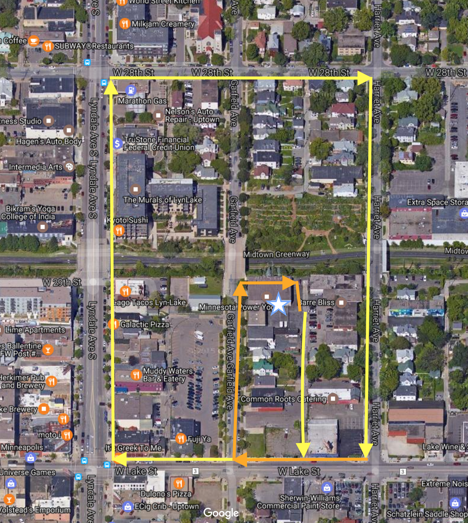"The ""Murph"" Mile - the route starts along the yellow arrows by the star. Athletes will run south down the alley towards Lake St. and turn right. Cross Garfield Ave and turn right to head north on Lyndale. The next turn will be another right on 28th St. Continue to Harriet, turn right and head south. The arrows turn to orange because of some overlap, as athletes will run along Lake to GARFIELD and head north to finish the mile. The final right turn will be the north alleyway loop to return to the gym."