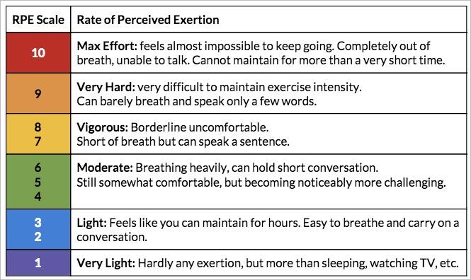 Cardiovascular Effort RPE Scale,
