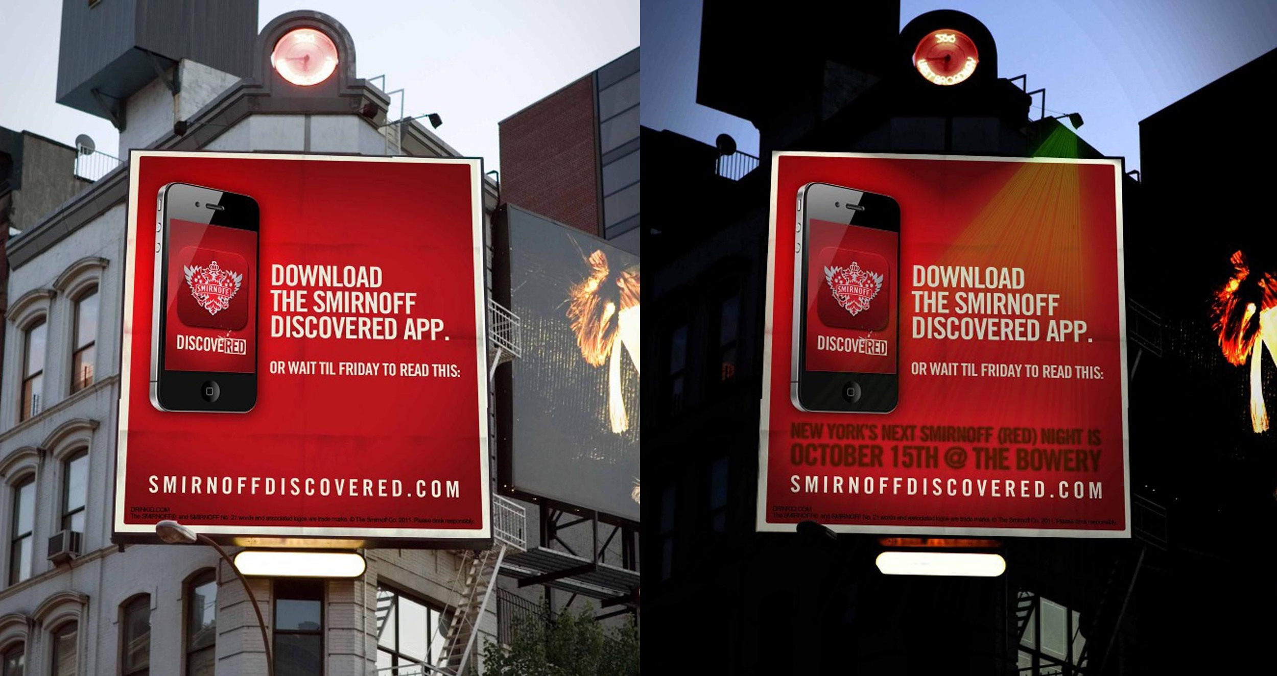 Download the app and use the (RED) filter to reveal a secret message on the billboard.