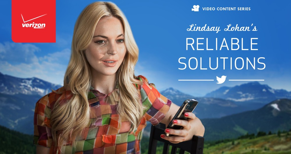 Lindsay Lohan is anything but reliable. But we'll prove that even she can come through on Verizon's Network. So Tweet #ReliableLindsay during this one-day event, and ask her to help you solve your life's problems.