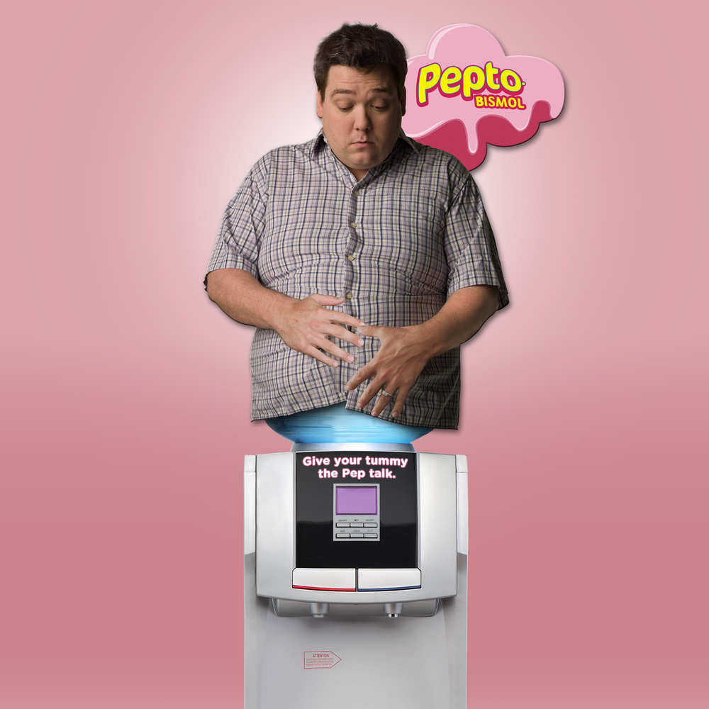 Pepto Bismol upset-stomach office display. As people use the cooler, the bubbling noise is a reminder of an upset stomach.