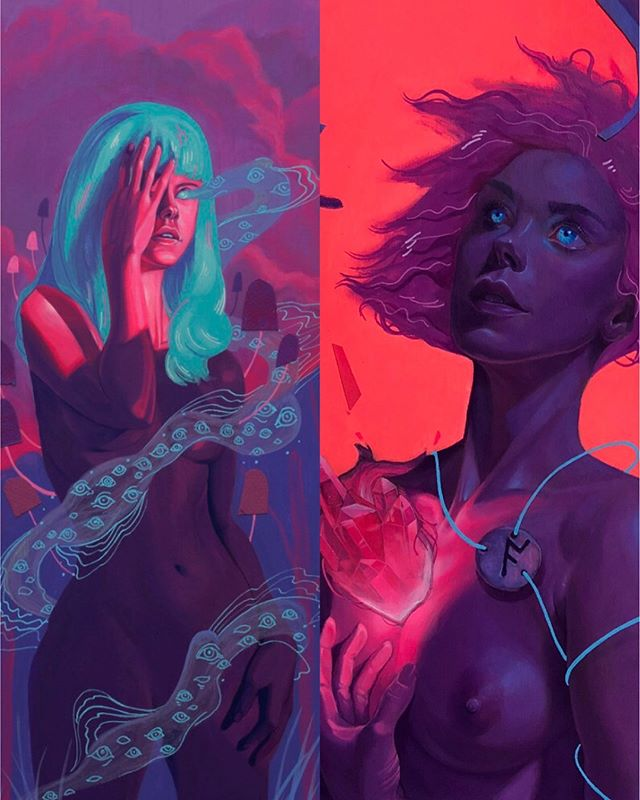 Hey LA friends, I'll have two pieces up at @laluzdejesus. The opening is tonight. It would totally make my birthday to see you there! And if not, both pieces will be up for the rest of the month. . . . . #artistsoninstagram #gallery #neon #vaporwave #lowbrowart #figurativeart