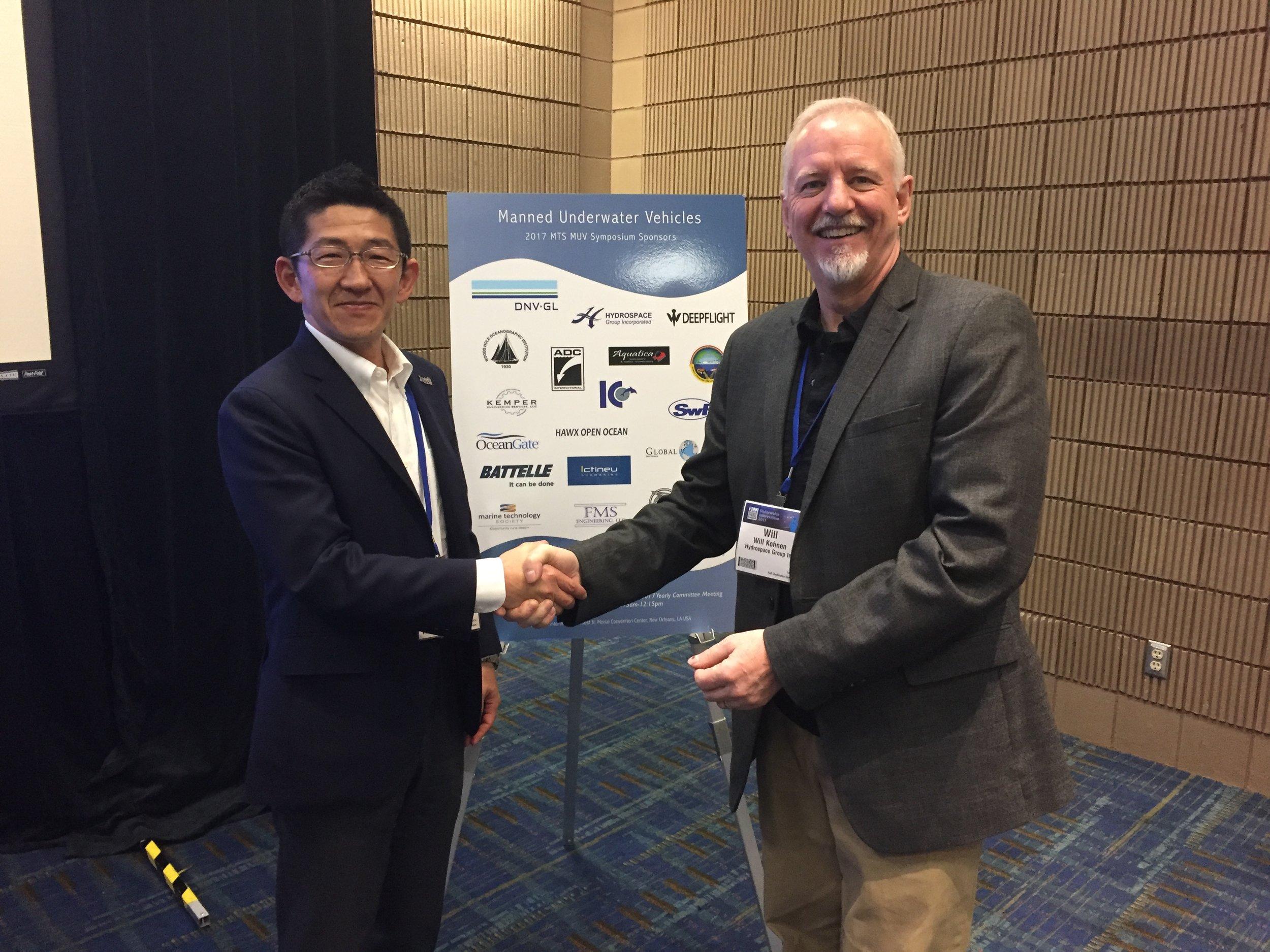 Masanobu Yanagitani, JAMSTEC, with Will Kohnen, Hydrospace Group & MUV Committee Chair
