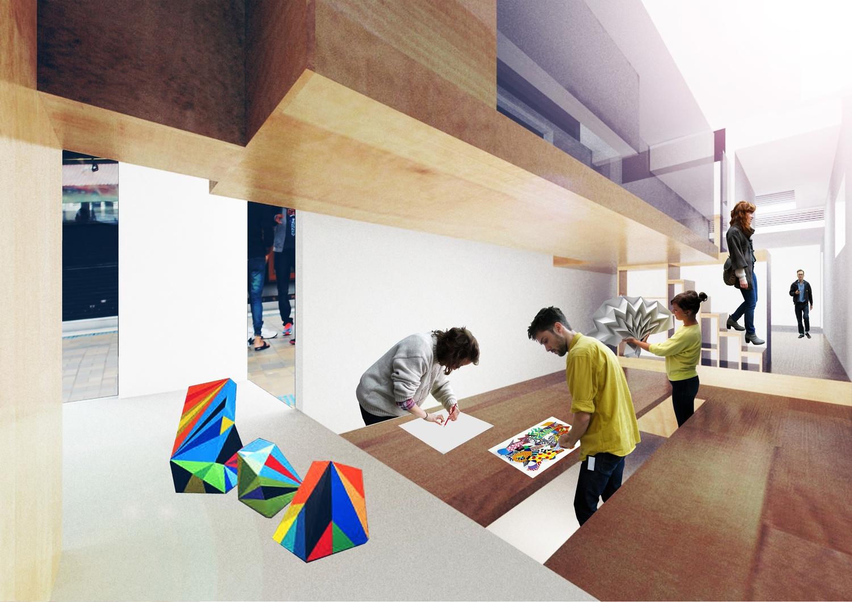 Internal view of workshop/studio carriage.