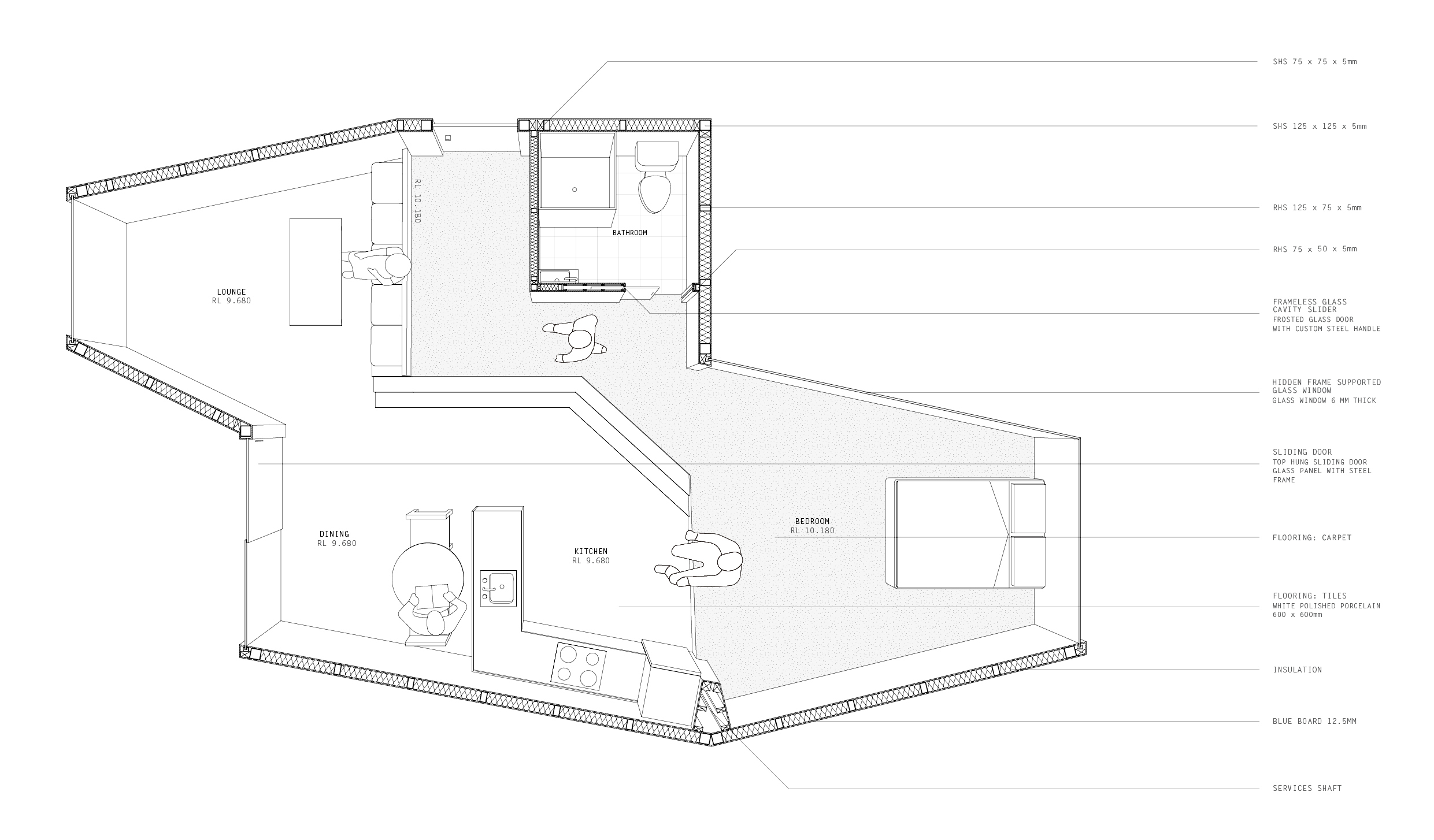 Plan of one apartment module.