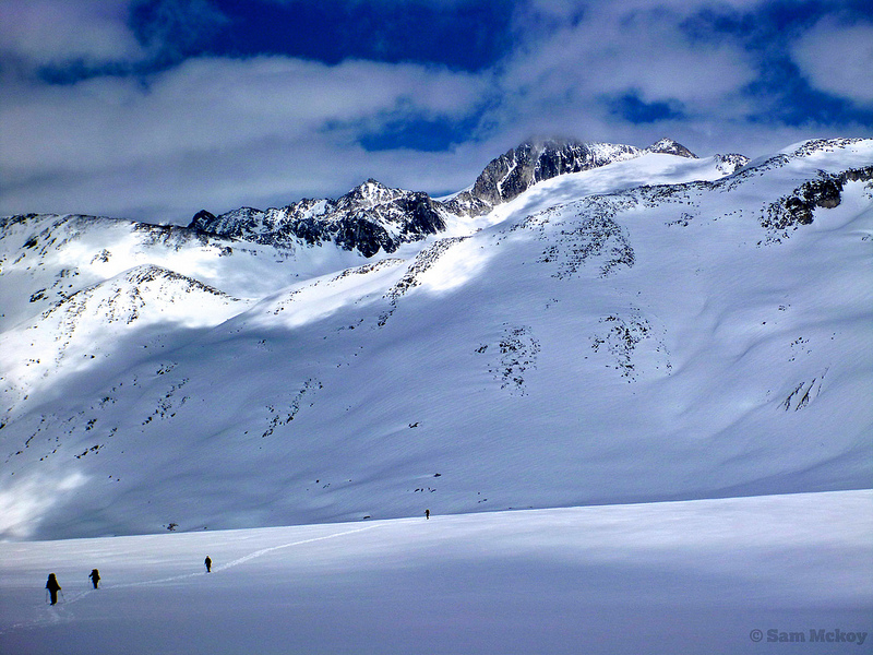 Ski touring on the Pebble Glacier. Mt Thiassi in the background.
