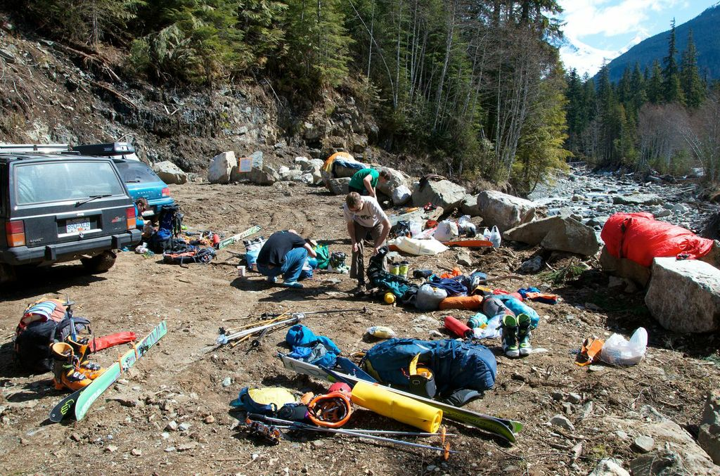 Gear organization at the bridge washout on the Nusatsum where the heli would pick us up.