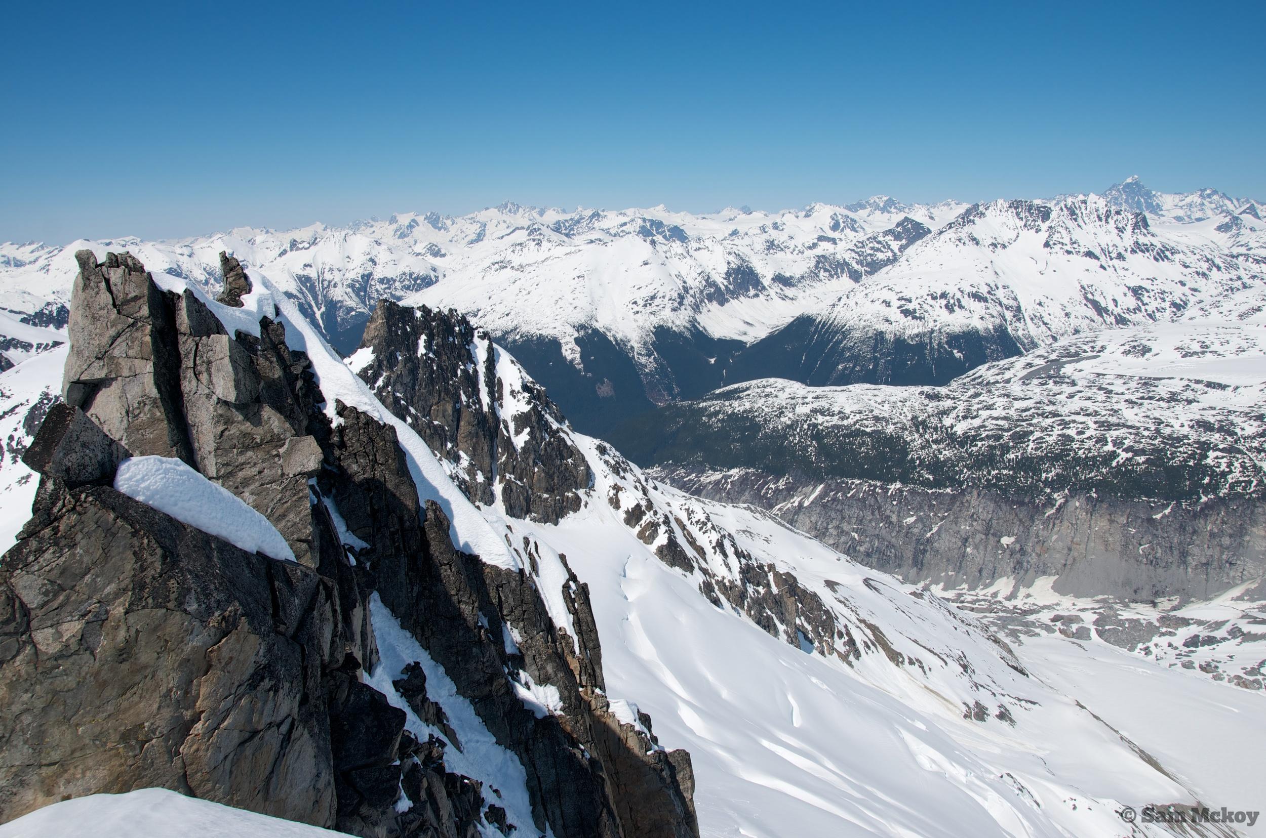 A view from the SE ridge of Pelletier peaks.