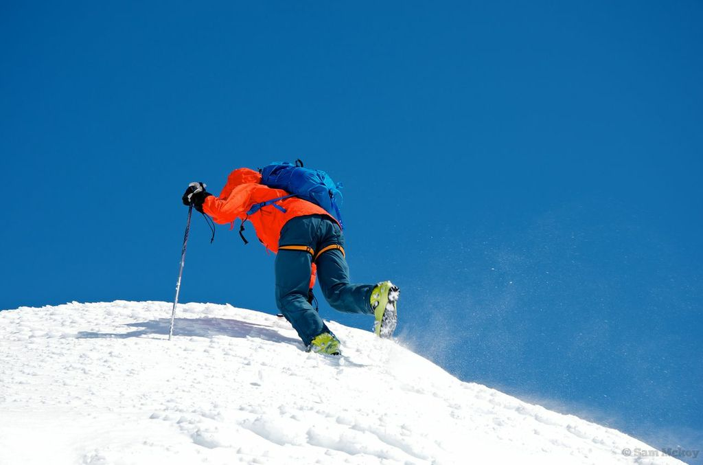 Tim boot-packing the last easy bit to the summit ridge.