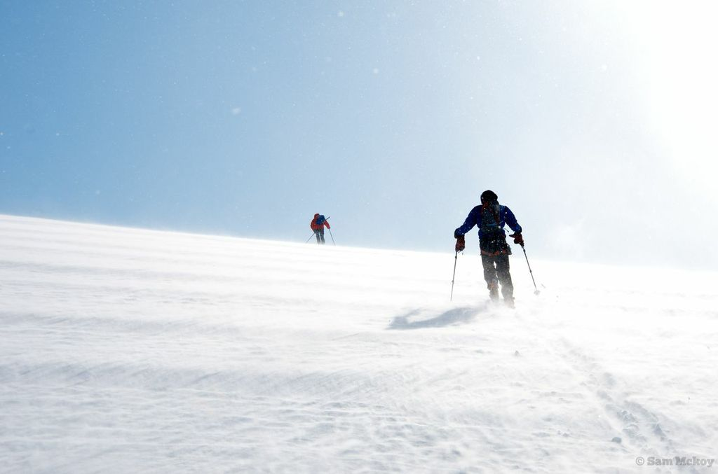 Tim and Michal heading up Erehwon in the wind.